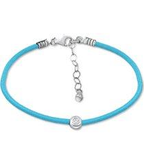 giani bernini cubic zirconia bezel cord ankle bracelet in sterling silver, created for macys
