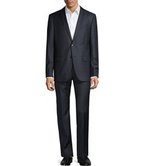 john varvatos star u.s.a. men's bedford-fit tonal check wool suit - navy - size 40 r