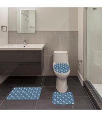 jogo de banheiro natal flamingo azul ãšnico - azul - dafiti