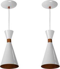 kit 2 lustres pendentes flã³rida de alumãnio branco c/ cobre - branco - dafiti
