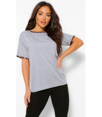 set ringer t-shirt met luipaardprint en legging, grijs gemêleerd