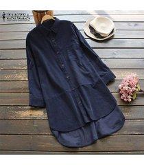 zanzea mujeres más llano botón básico hasta top de la camisa camiseta de algodón holgada túnica de la blusa -azul marino