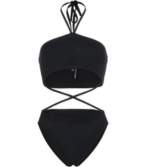 beth richards gina cross strap high waist swimsuit - black