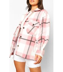 petite flannel shirt jacket, pale pink