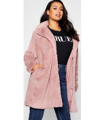 plus collared faux fur coat, blush