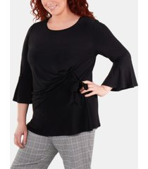 ny collection plus size bell-sleeve side-tie top
