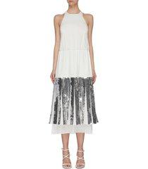 'claude' sequin layered halter dress