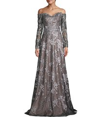 off-the-shoulder metallic lace & silk gown
