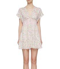 'keela' floral print smocked waist mini dress