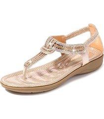 sandalias con cuentas de diamantes de imitación en forma de t mujer-oro