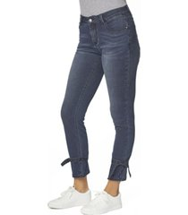 juniors' mid rise skinny with ankle tie jeans