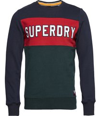 academy colour block crew sweat-shirt tröja blå superdry