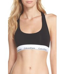calvin klein modern cotton collection cotton blend racerback bralette, size small in black at nordstrom