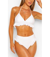 frill high waist bikini briefs, white