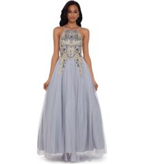 betsy & adam embellished-bodice ball gown