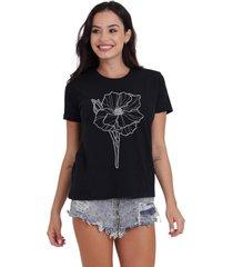 camiseta basica my t-shirt flower line preto