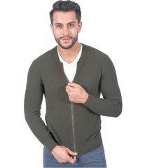 suéter para hombre tejido en hilo con cremallera verde