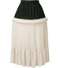 jw anderson drop-waist pleat skirt - neutrals