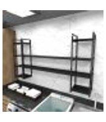 prateleira industrial lavanderia aço cor preto 180x30x98cm cxlxa cor mdf preto modelo ind49plav