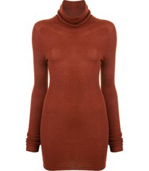 rick owens cowl-neck ribbed sweater - brown