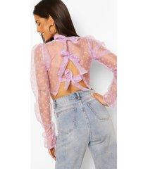 polka dot organza bow back blouse, lilac