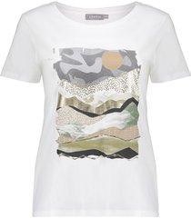 geisha 12366-41 010 t-shirt front print s/s off-white/green