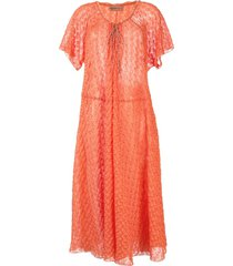 missoni knitted midi beach dress - orange