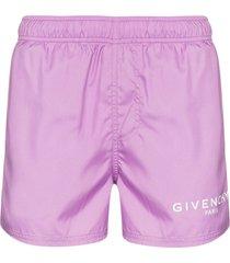 givenchy classic logo drawstring swim shorts - purple