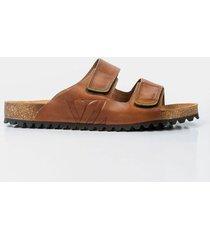 sandalia de cuero vintage para hombre velcros