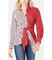 tommy hilfiger colorblocked striped tie-waist shirt