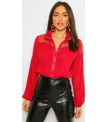 blouse met kant en hoge kraag, berry