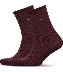 th women sock 2p lurex rib lingerie socks regular socks röd tommy hilfiger