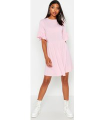 tall ribbed frill sleeve smock dress, pastel pink