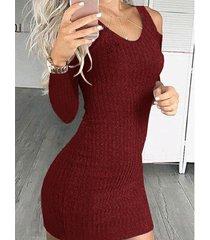 burdeos hombro frío manga larga mini vestido