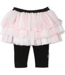 balmain pastel pink and black tulle skirt