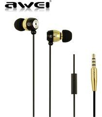 audífonos bluetooth manos libres inalámbricos, awei es-q38i auricular de aislamiento de ruido de alto rendimiento auricular de sonido claro (oro)