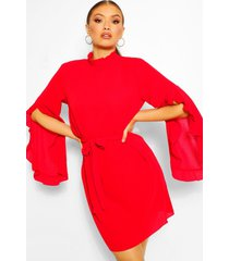 boho high neck wide shift dress, red