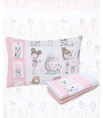 jogo de cama 3pçs santista solteiro infantil friends branco/rosa