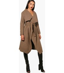 belted waterfall coat, mocha