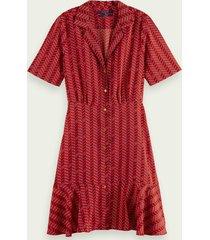 scotch & soda mini-jurk met korte mouwen, knoopsluiting en print