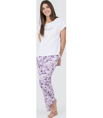 pantalón mujer descanso flores lilas color morado, talla l