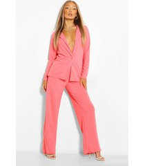 tailored blazer and wide leg trouser suit set, coral