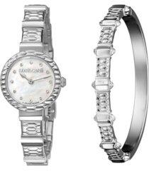 roberto cavalli by franck muller women's diamond swiss quartz stainless steel watch & bracelet gift set, 26mm