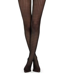 calzedonia geometric tulle effect tights woman blue size 3/4