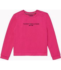 tommy hilfiger girl's adaptive signature sweatshirt pink passion - l