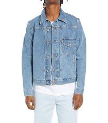 kato stretch selvedge denim jacket, size x-large in indigo at nordstrom