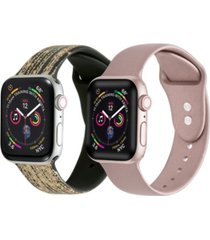 men's and women's falling star dust rose gold metallic 2 piece silicone band for apple watch 42mm
