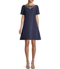 embellished a-line silk dress