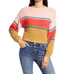 women's billabong washed out stripe sweater