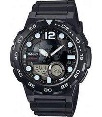reloj casio aeq_100w_1b negro resina